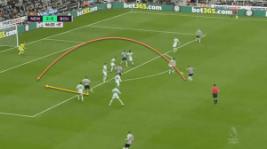 Here, he chips the ball over the opposition defence for Kenedy.