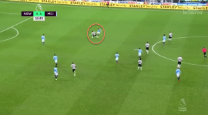This allows him to tackle the defender, and run onto goal to put a shot narrowly wide.