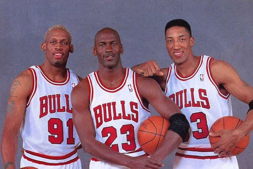 Michael Jordan, Scottie Pippen and Dennis Rodman