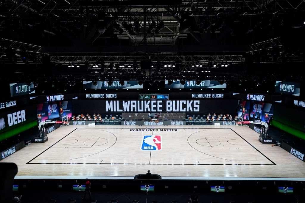 NBA Boycott. Empty court in game 5 of Bucks Vs Magic.