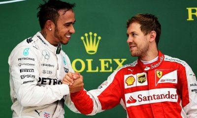 Lewis Hamilton shows his concern for Sebastian Vettel