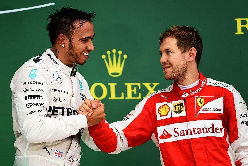 Lewis Hamilton shows his concern for Sebastian Vettel