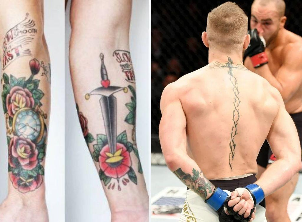Conor Macgregor Tattoos leg and back