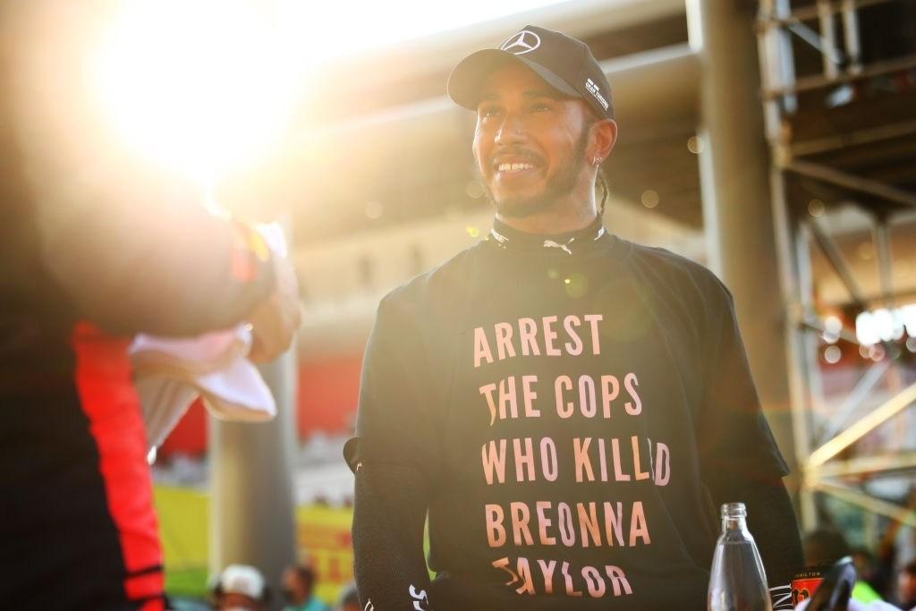 Lewis Hamilton in anti-racism t-shirt at Tuscan GP, Mugello
