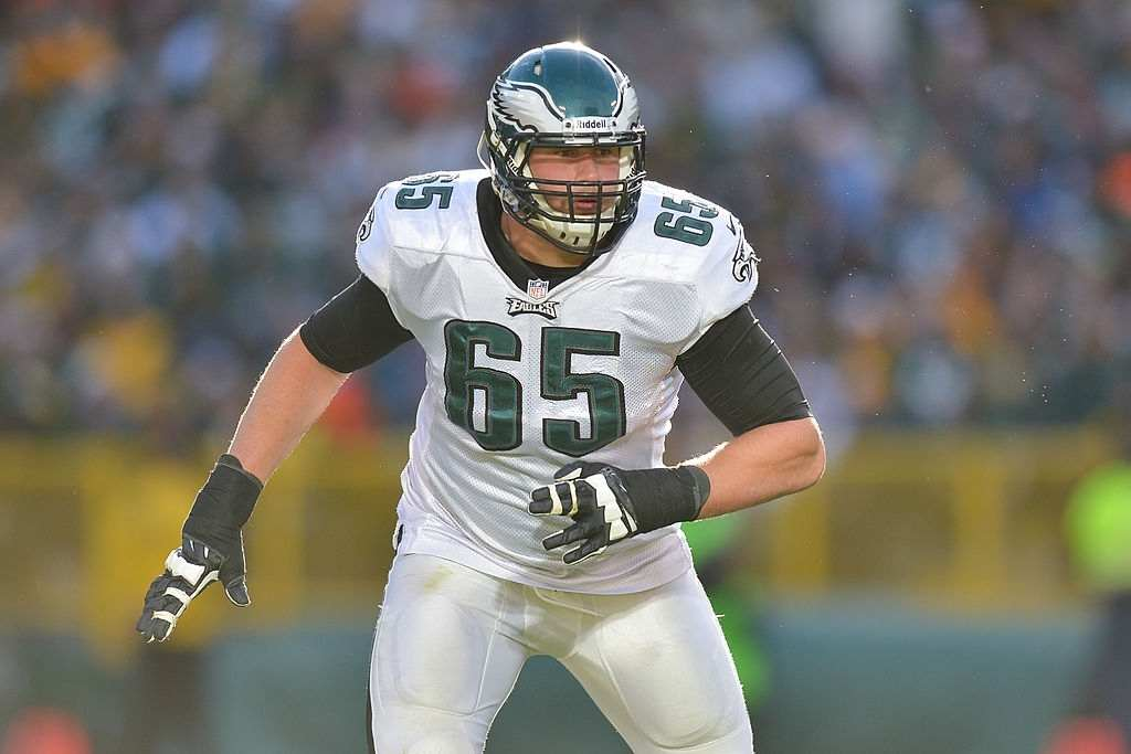 Lane Johnson #65 of the Philadelphia Eagles blocks against the Green Bay Packers at Lambeau Field on November 10, 2013 in Green Bay, Wisconsin.