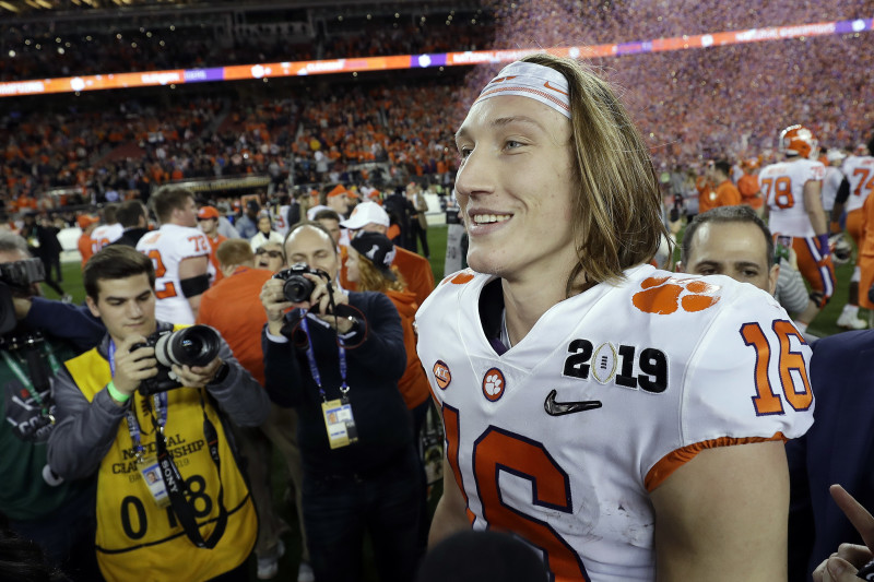 Trevor Lawrence after winning NCAA title