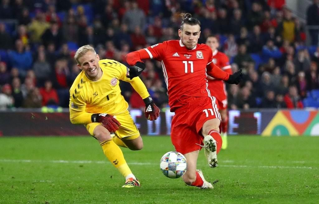 Martin Braithwaite of Denmark scores his team's first goal-compressed