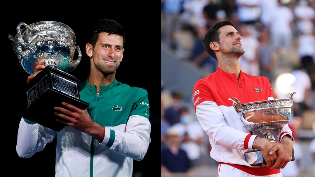 Novak Djokovic won the Australian Open and Roland Garros in 2021.