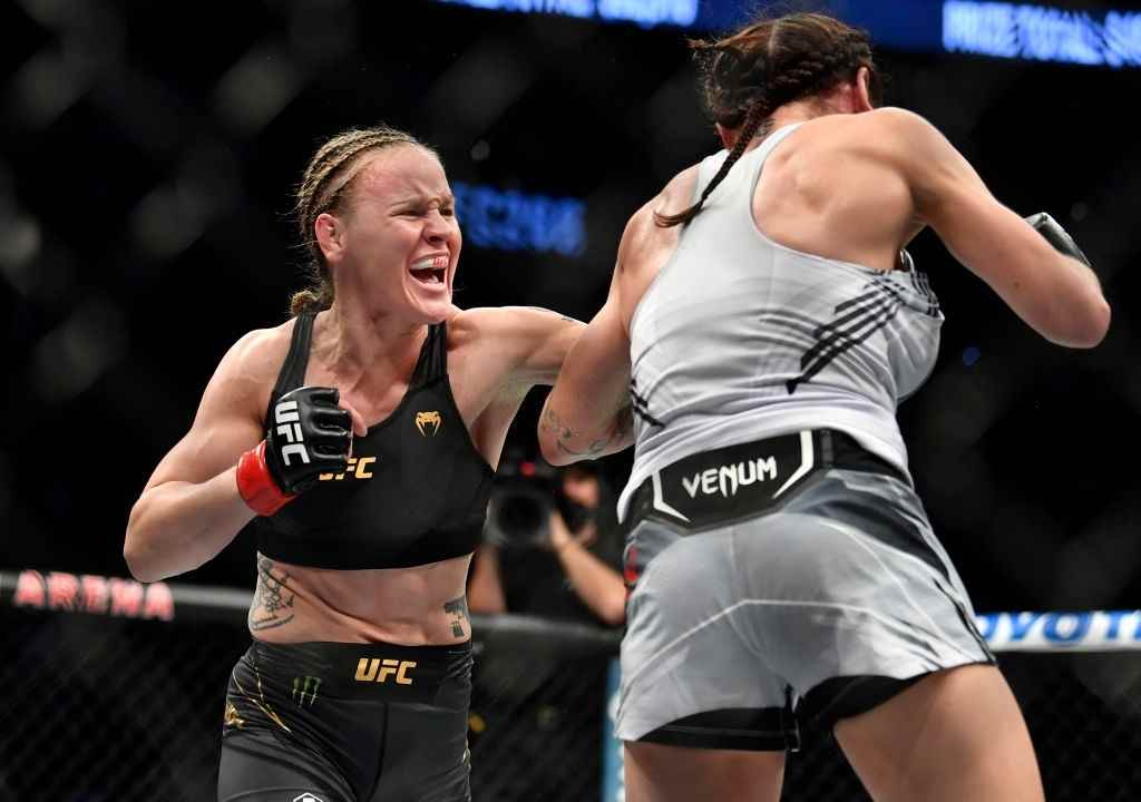 Valentina Shevchenko of Kyrgyzstan punches Lauren Murphy in their UFC flyweight championship fight during the UFC 266 event on September 25, 2021 in Las Vegas, Nevada.